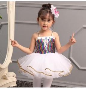 Kids sequin jazz dance dress children princes chorus model show performance flower girls dresses